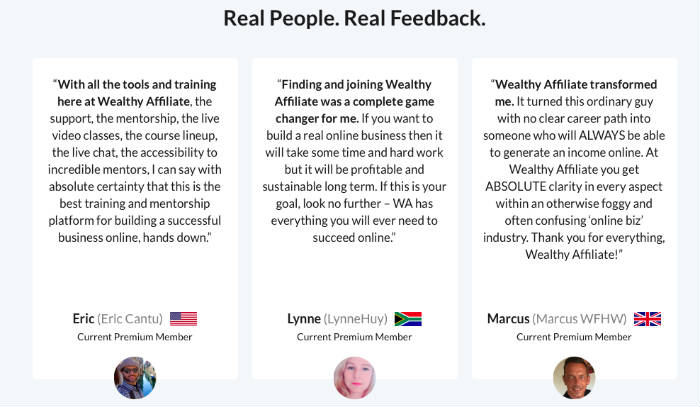 Wealthy Affiliate Review testimonials.