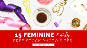 A free feminine styled flatlay stock photo of stationery and a cup with the text 15 feminine and girly free stock photo sites. Photo: unsplash.com.