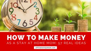 An alarm clock and coins with text reading 57 ways to make money online as a stay at home mom (image: Pixabay).