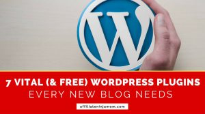 The WordPress logo with the text 7 wordpress plugins very new blog needs.