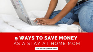 A mom using a laptop, overlaid with the text '9 ways to save money as a stay at home mom'. Image: Kayla Butler via Ivorymix.com.